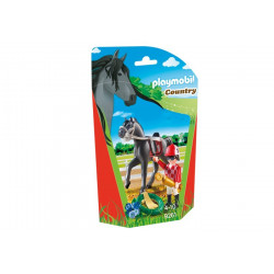 Playmobil - Jockey avec Cheval de Course- Country - 9261