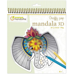 Coloriage graffy pop Mandala 3D - Animaux de la savane - Avenue mandarine - GY106