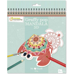 Coloriage graffy pop Mandala 3D - Animaux marins - Avenue mandarine - GY094