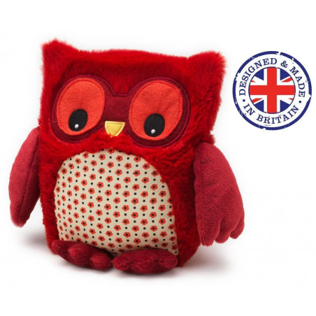 Soframar - Bouillotte sèche Peluche Hibou Rouge - AR0190 - Made in england