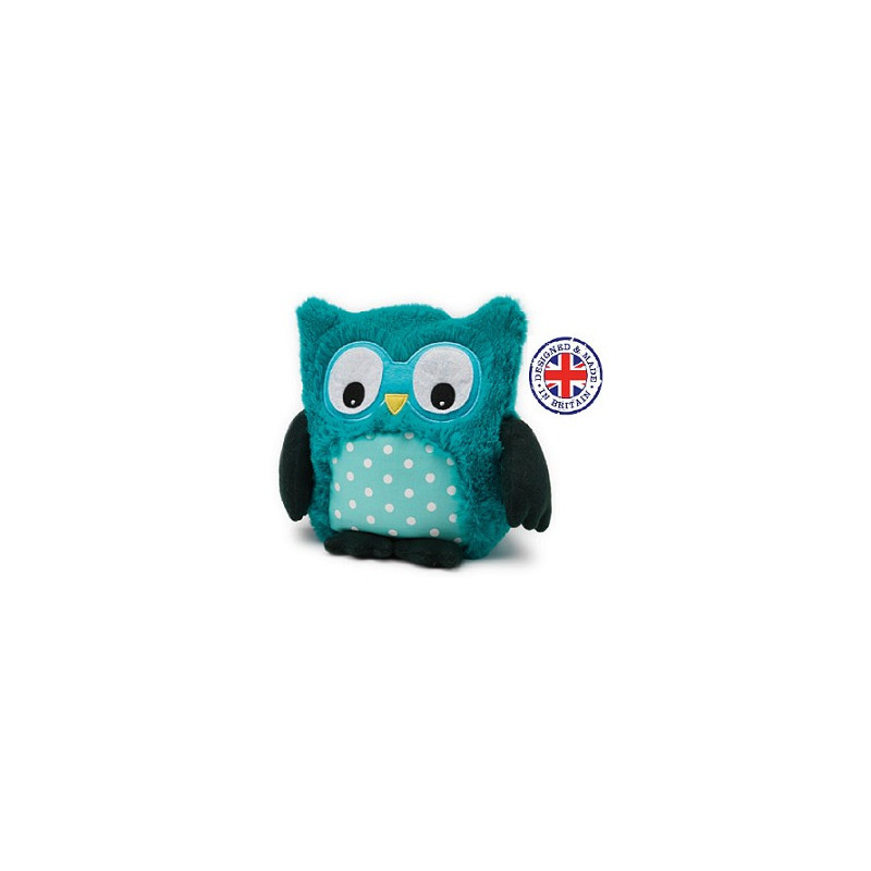 Soframar - Bouillotte sèche Peluche Hibou Turquoise - AR0209 - Made in england